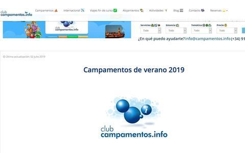 Screenshot of Home Page campamentos.info - Campamentos de verano 2019 ⛺️☀️ y viajes fin de curso! - captured July 6, 2019