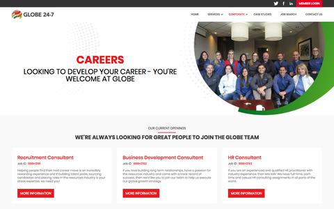 Screenshot of Jobs Page globe24-7.com - Careers | Globe 24-7 - captured July 21, 2018