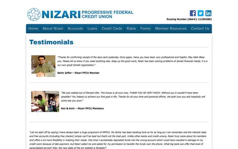 Screenshot of Testimonials Page nizaricu.org - Nizari Progressive Federal Credit Union - Testimonials - captured Dec. 9, 2016