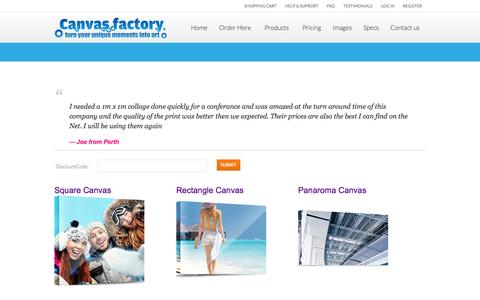 Screenshot of Pricing Page thecanvasfactory.com.au captured Sept. 19, 2014