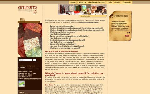 Screenshot of Hours Page grimmbindery.com - FAQs - Grimm Book Bindery - captured Oct. 4, 2014