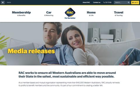 Screenshot of Press Page rac.com.au - RAC Media releases | RAC WA - captured Nov. 28, 2016