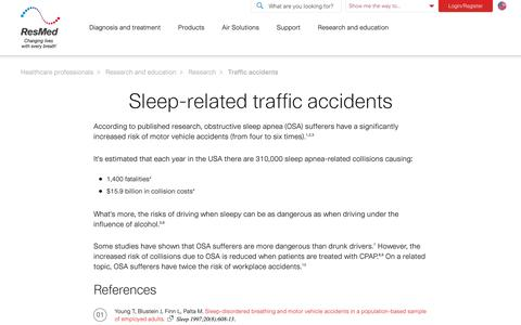 Research articles on traffic accidents | ResMed