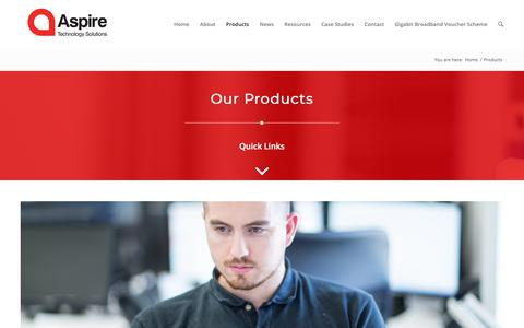 Screenshot of Products Page aspirets.com - Business Internet | Managed Services | Aspire Technology Solutions - captured Oct. 4, 2018