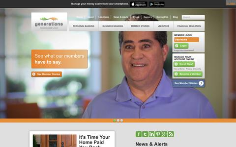 Screenshot of Home Page mygenfcu.org - Generations Federal Credit Union - captured Sept. 19, 2014