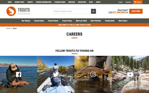 Screenshot of Jobs Page troutsflyfishing.com - Trouts Fly Fishing | Careers - captured Nov. 16, 2018