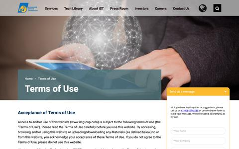 Screenshot of Terms Page istgroup.com - Terms of Use - iST-Integrated Service Technology - Terms of Use - captured Oct. 12, 2018