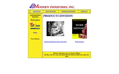 Screenshot of Products Page modernind.com - Modern Industries Inc. Products Division - captured Oct. 26, 2014