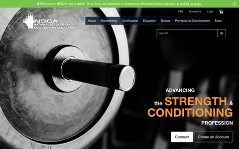 Screenshot of Home Page nsca.com - National Strength and Conditioning Association (NSCA) - captured Sept. 14, 2018