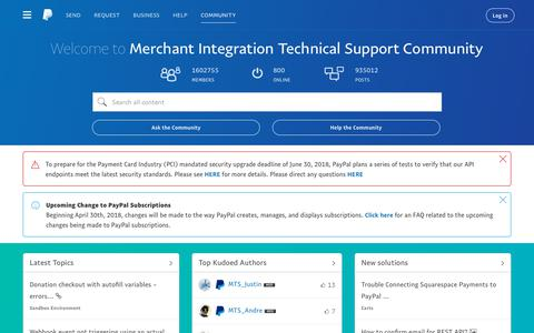 Screenshot of paypal-community.com - PayPal Merchant Technical Support Community - captured April 19, 2018