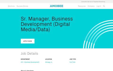 Screenshot of Jobs Page amobee.com - Sr. Manager, Business Development (Digital Media/Data) — Amobee - captured Nov. 18, 2019