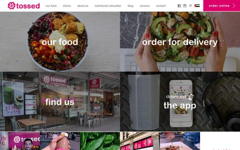 Screenshot of Home Page tosseduk.com - Welcome to Tossed - The Healthier Eating Place - captured Sept. 23, 2018