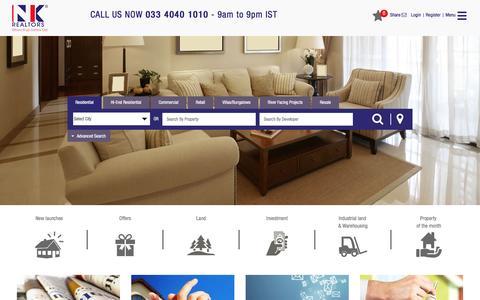 Screenshot of Home Page nkrealtors.com - NK Realtors - Top Real Estate Company In Kolkata - captured Nov. 14, 2016