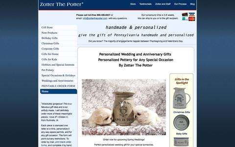Screenshot of zotterthepotter.com - Personalized Gifts - Personalized Pottery - captured June 15, 2016