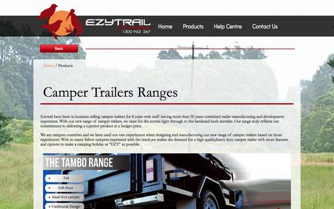 Screenshot of Products Page ezytrailcampertrailers.com.au - Ezytrail Camper Trailers product page | Ezytrail Camper Trailers | 1300 962 267 - captured Oct. 1, 2014