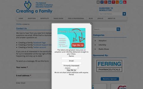 Screenshot of Contact Page creatingafamily.org - Contact Creating a Family   Creating a Family - captured July 17, 2016