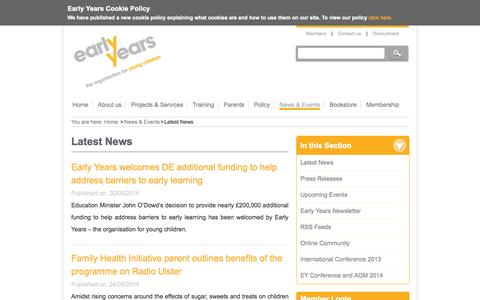 Screenshot of Press Page early-years.org - Latest News | Early Years - the organisation for young children - captured Oct. 1, 2014
