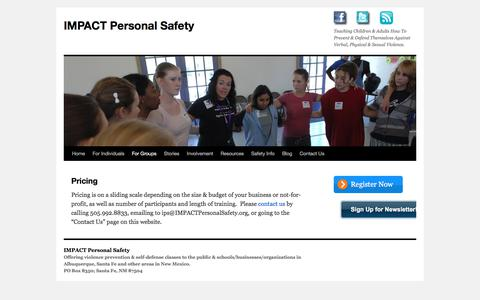 Screenshot of Pricing Page impactpersonalsafety.org - Pricing | IMPACT Personal Safety - captured Sept. 24, 2017