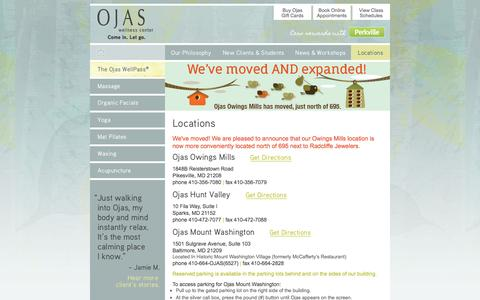 Screenshot of Contact Page Locations Page ojaswellness.com - Massage & Yoga: Owings Mills, Hunt Valley, & Mount Washington - captured Oct. 26, 2014