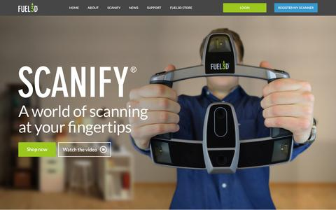 Screenshot of Home Page fuel-3d.com - SCANIFY: The low-cost, high-quality handheld 3D Scanner from Fuel3D - captured June 16, 2015