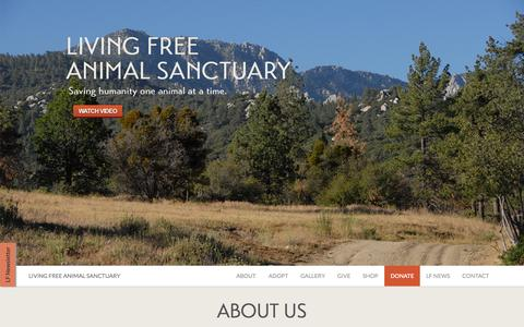 Screenshot of Home Page living-free.org - Living Free Animal Sanctuary - captured June 19, 2015