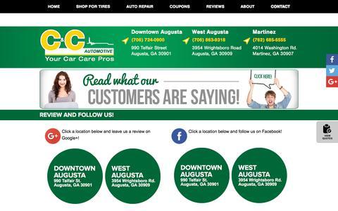 Screenshot of Contact Page ccautomotive.com - Contact C & C Automotive Augusta, GA North Augusta, SC Grovetown, GA Tires Shop - captured Aug. 5, 2018