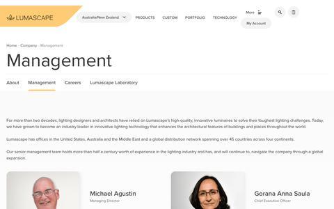 Screenshot of Team Page lumascape.com.au - Our Management Team | Lumascape - captured Sept. 30, 2018