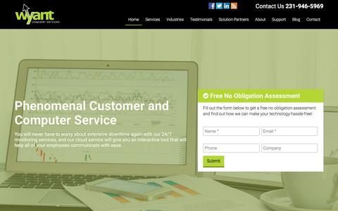 Screenshot of Home Page gowyant.com - Wyant Computer Services | 231-946-5969 - captured Nov. 30, 2016
