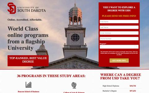Screenshot of Landing Page usd.edu - Online Degrees General - USD Online - captured June 24, 2016