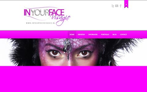 Screenshot of Home Page inyourfacevisagie.nl - In Your Face Visagie | | Dominique Haveman - captured Sept. 30, 2014