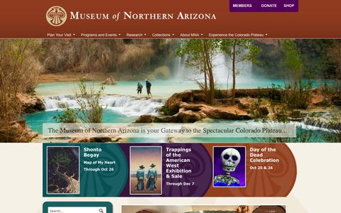 Screenshot of Home Page musnaz.org - Museum of Northern Arizona - The Gateway to the Colorado Plateau - captured Oct. 6, 2014