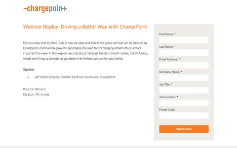 Screenshot of Landing Page chargepoint.com - ChargePoint Waitlist Webinar - captured Sept. 19, 2018