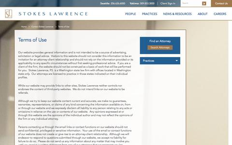 Screenshot of Terms Page stokeslaw.com - Terms of Use | Stokes Lawrence - captured Oct. 7, 2014