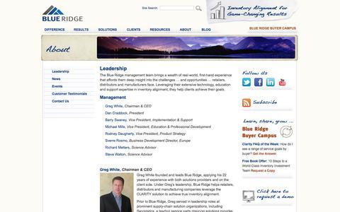 Screenshot of Team Page blueridgeinventory.com - SaaS Demand Forecasting, Inventory Replenishment, Inventory Optmization, SKU Rationalization, Vendor Managed Inventory Software-as-a-Service - captured Oct. 5, 2014