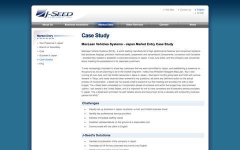 Screenshot of Case Studies Page j-seed.com - Market Entry - J-Seed Ventures, Inc. - captured Oct. 3, 2014