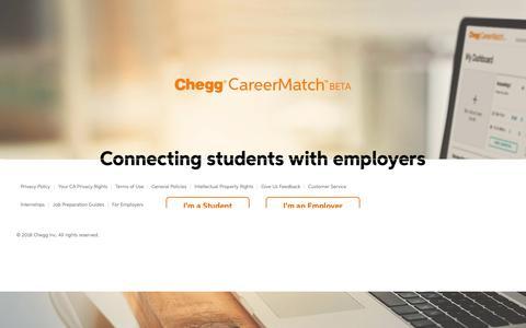 Screenshot of Home Page careermatch.com - Chegg CareerMatch - captured Nov. 3, 2018