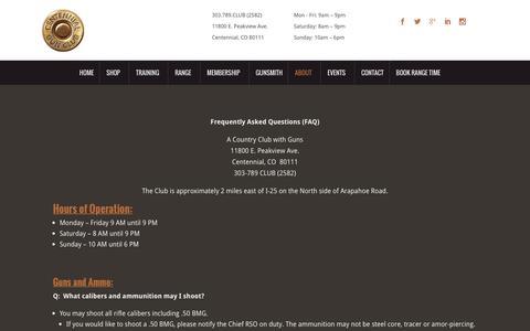Screenshot of FAQ Page centennialgunclub.com - FAQ's - Centennial Gun Club - captured July 12, 2016