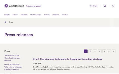 Screenshot of Press Page grantthornton.ca - Press | Grant Thornton LLP - captured Sept. 26, 2018