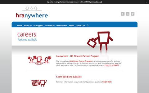 Screenshot of Jobs Page hranywhere.com - careers — hranywhere - captured July 17, 2016