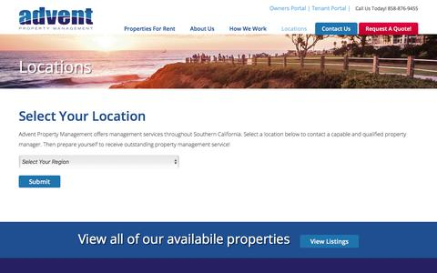 Screenshot of Locations Page adventmgmt.com - Locations Archive | Advent Property Management - captured Oct. 7, 2017
