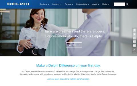 Screenshot of Jobs Page delphi.com - Careers - captured Sept. 9, 2016