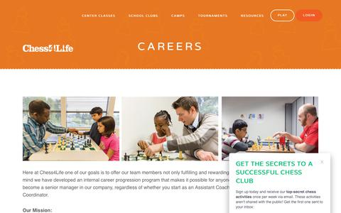 Screenshot of Jobs Page chess4life.com - Careers - Chess4Life - captured July 17, 2018