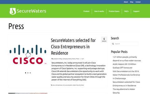 Screenshot of Press Page securewatersinc.com - Press | SecureWaters - captured Oct. 4, 2014