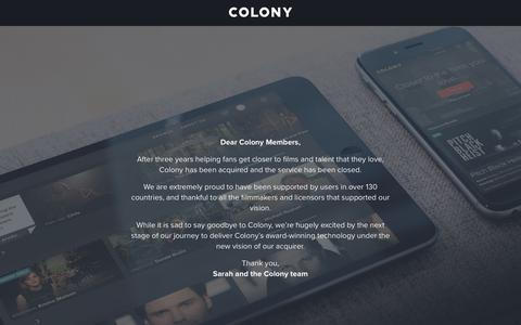 Screenshot of Home Page wearecolony.com - Colony | Closer to the films you love - captured Oct. 26, 2017