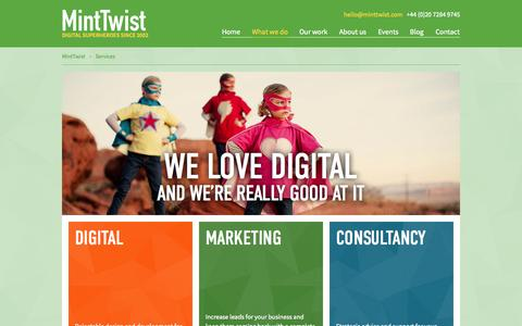 Screenshot of Services Page minttwist.com - Our Digital Services   London, UK - captured Oct. 27, 2014