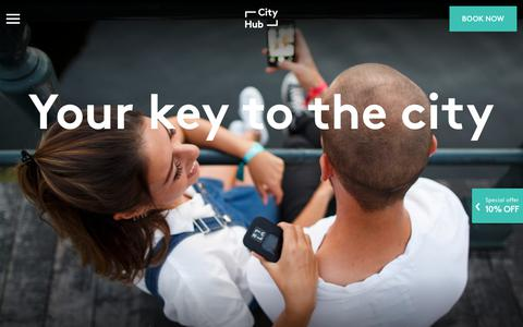 Screenshot of Home Page cityhub.com - CityHub - Your key to the City - The concept & the company - captured July 18, 2018