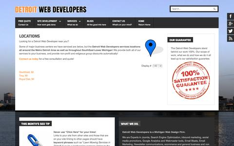 Screenshot of Locations Page detroitwebdevelopers.com - Locations|Detroit Web Developers | Michigan Web Design and SEO Company - captured Sept. 30, 2014
