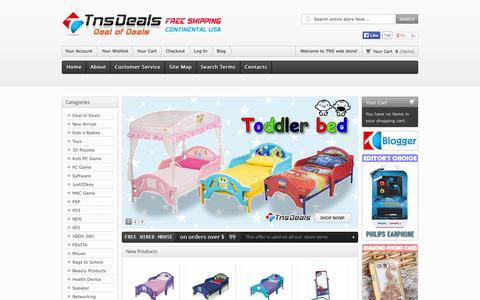 Screenshot of Home Page Blog About Page Contact Page Site Map Page Support Page Login Page tnsdeals.com - TNSDeals: PC Video Games And Electronics From Classics To New - captured Sept. 19, 2014