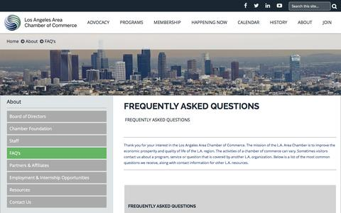 Screenshot of FAQ Page lachamber.com - Los Angeles Area Chamber of Commerce - about_faq - captured Feb. 1, 2016