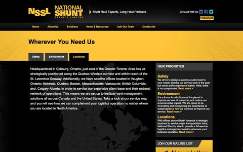 Screenshot of Locations Page nationalshunt.com - National Shunt Locations – Yard Management Solutions Across North America - captured Nov. 29, 2016
